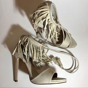 Zara Basic Ankle Fringe Heeled Sandal